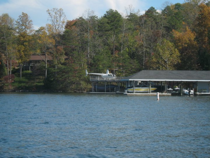 Arriving to Smith Mountain Lake Virginia by helicopter by Edna Jamieson